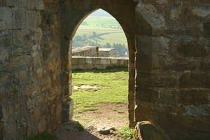 Tor, Durchgang, Mauer, Wiese, Stein, Landschaft